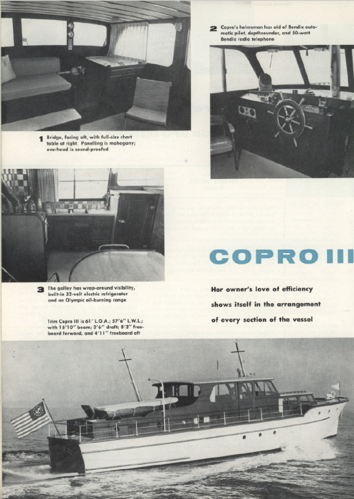 Article about COPRO III's launch and design in The Rudder, Sept. 1958.