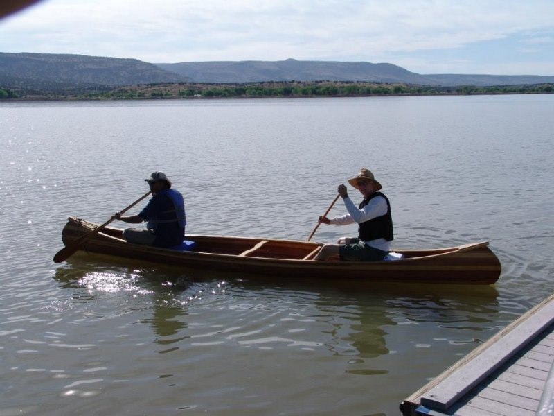 Wood strip canoe.