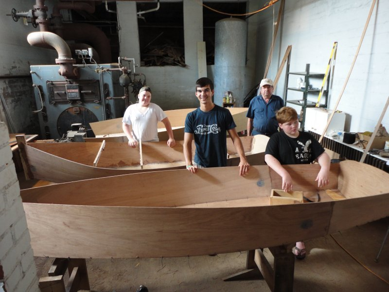 Some of the folks involved in the Polk County Community Boatbuilding Project