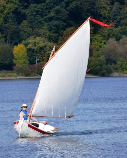 Serge Larocque sailing his Penobscot 14 on Lake Ontario