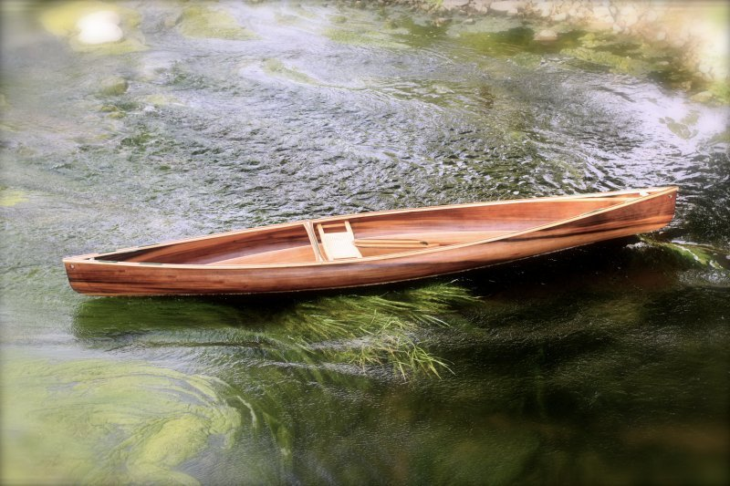 Solo Cedar Stip Canoe from Ashes Still Water Boats