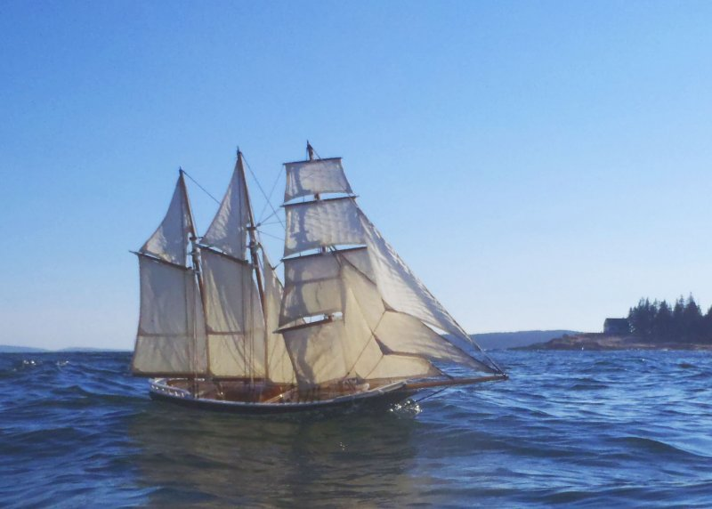 This 64 inch model sails under it's own power just off Gott's Island