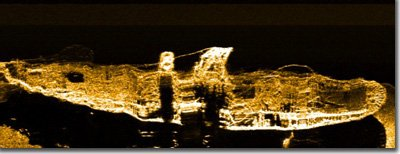 Side scan sonar image of PORTLAND. Courtesy Klein Sonar Associates.