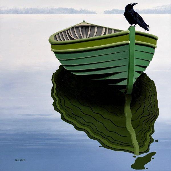 """Raven on Pea Pod"" 4ft x 4 ft, acrylic on canvas; artist, Tony Grove."