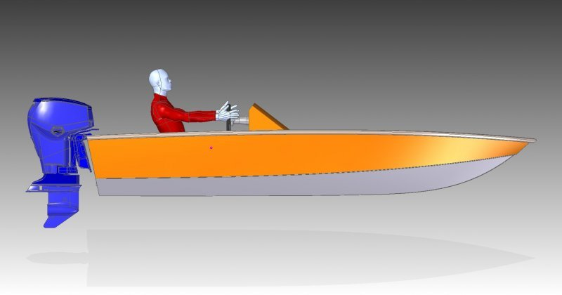 4.5m bass boat side view
