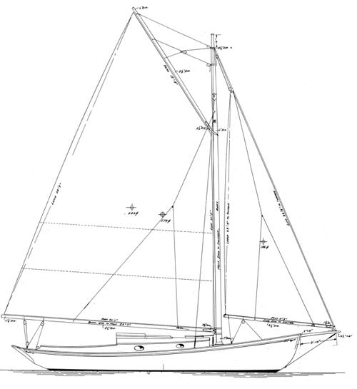Alden 30' Keel -- Centerboard Sloop profile
