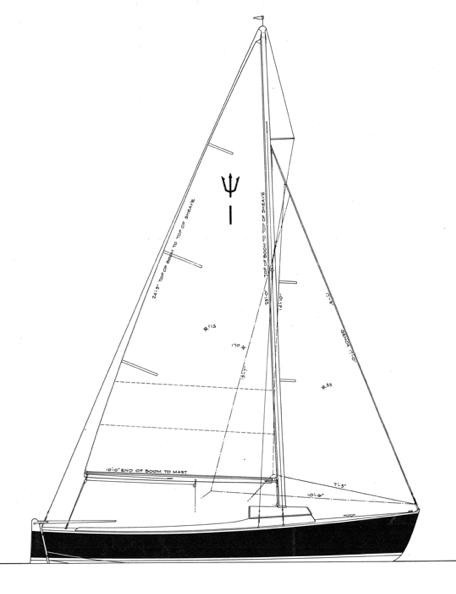 """19' 6""""  Centerboard Sloop, TRITON profile"""