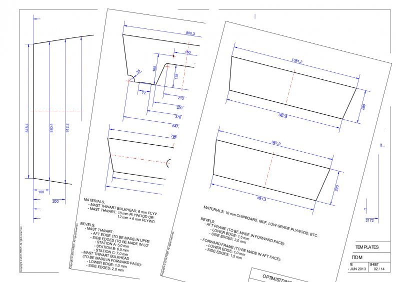 Optimist Dinghy Template plans