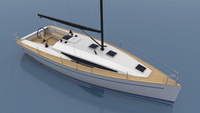 Cruiser/Racer boat illustration.