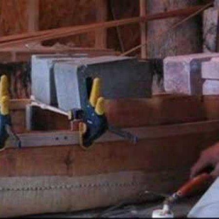 Birch bark canoe building
