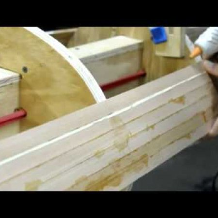 Hot-gluing a wooden strip in place