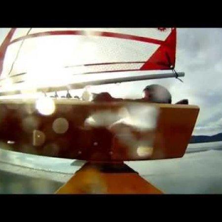 Mini Skeeter Iceboat Sailing Little Bitteroot Lake on Valentines Day