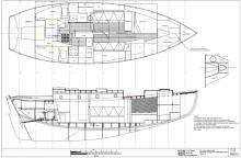 Accommodation plan of Kahuna Nui 37' cruising sailboat for wood/epoxy construction