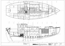 Accommodation plan of Kahuna Nui 37' pilothouse cruising sailboat for wood/epoxy construction
