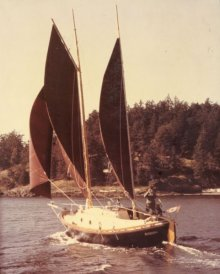 Donna sailing off Friday Harbor, prior to heading to Hawaii