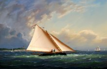 """Catboat Racing off Gay Head Light""  Oil painting by local artist, William R. Davis will be featured in the exhibit."