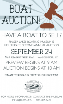 Poster for Finger Lakes Boating Museum auction.