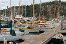 Wooden Boats on display in the Deer Harbor Marina, Orcas Island
