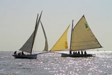 A fun gathering of classic wooden sailboats.