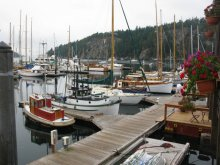 Wooden Boats on display in the Deer Harbor Marina, Orcas Island