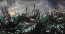 """The PdP Monogrammist, """"Ships and Whales in a Tempest."""" Oil on wooden panel, c. 1595."""