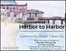 Harbor to Harbor Clean-Up. Art by Isabelle Harvey, a student in OCEANpProgram