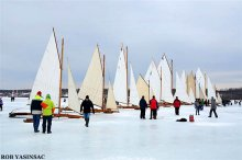 Ice yachts lined up at Astor Point, Barrytown, NY, 2014. Photo by Rob Yasinsac.
