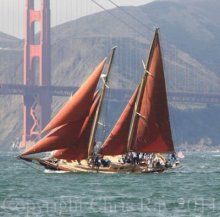 Photograph by Chris Ray of Jessica Cup racing on San Francisco Bay.