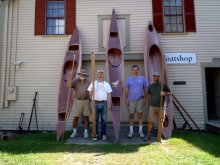 Kayaks built at the Maine Maritime Museum Boatshop.