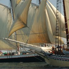 "The Maine Great Schooner Race. ""Jousting"" photo by Neil M. Shively."