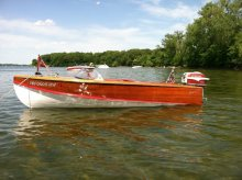 1955 Thompson Thomboy strip built runabout speed boat