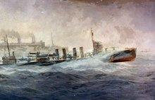 A Fast Convoy: USS Leviathan Escorted by USS Allen (DD-65), Burnell Poole, 1918 (detail),  Courtesy of Naval History and Heritage Command.