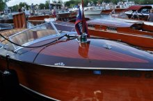 Mahogany runabouts at the Lake Winnipesaukee Boat Show