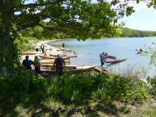 Kayak builders meet at the beach in groton ct