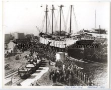 FREEMAN about to be launched, Cobb Butler yard, 1919, Rockland, Maine.