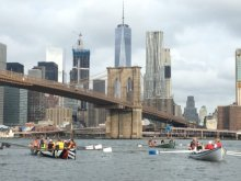 Row Around Manhattan...passing under the Brooklyn bridge.