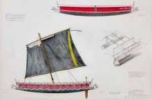 Tadobu single outrigger Kula canoe, Kitava Island, Trobriand Group. Image: David Payne, ANMM.