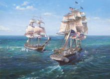 USS CONSTITUTION vs HMS JAVA. Artist: Maarten Platje.
