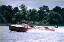 28' Bermuda Runabout in water