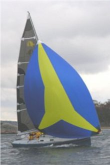 Didi 26 with spinnaker