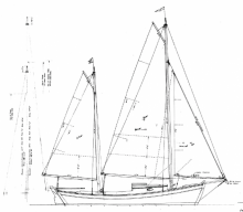 26 foot Auxiliary Ketch sail plan