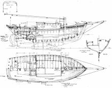 Auxiliary cruising sloop lines