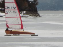 The Mini Skeeter sailing at Somers bay on Flathead Lake Montana