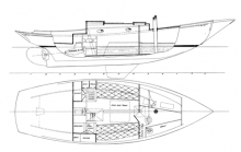 Alden 30' Keel -- Centerboard Sloop overhead and side profile