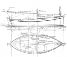 19' Cat Schooner overhead and side