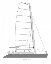 Sail Plan of the Sharpie Cat 42