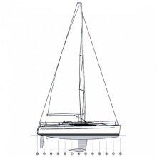 Cruiser/Racer boat sail plan.