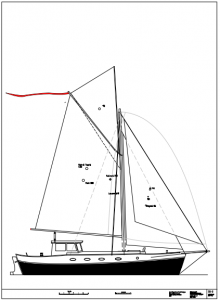 Simplicity 35 with a pilothouse and gaff rig