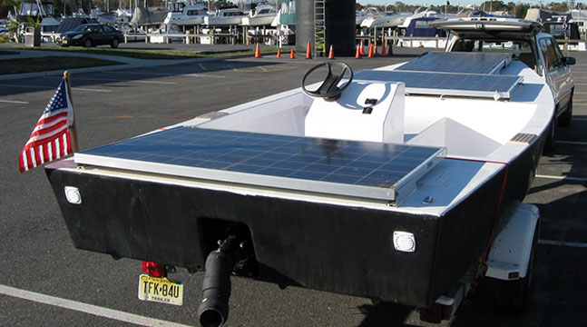 Flat bottom solar-electric boat