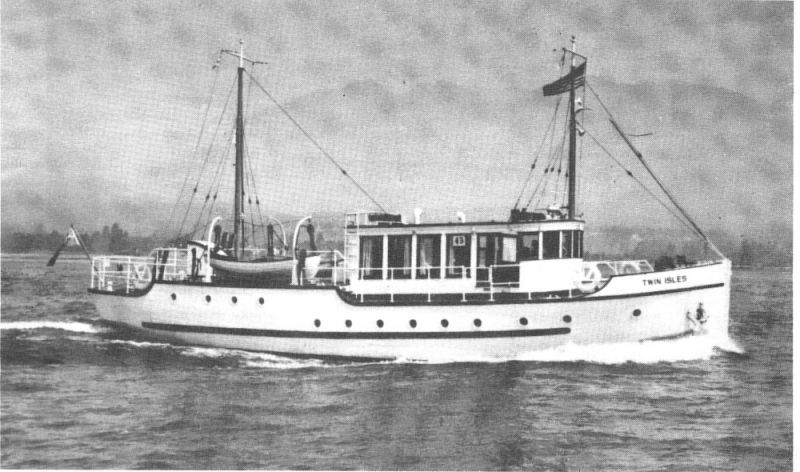 TWIN ISLES, fantail motoryacht built by Vancouver Shipyards in 1940.
